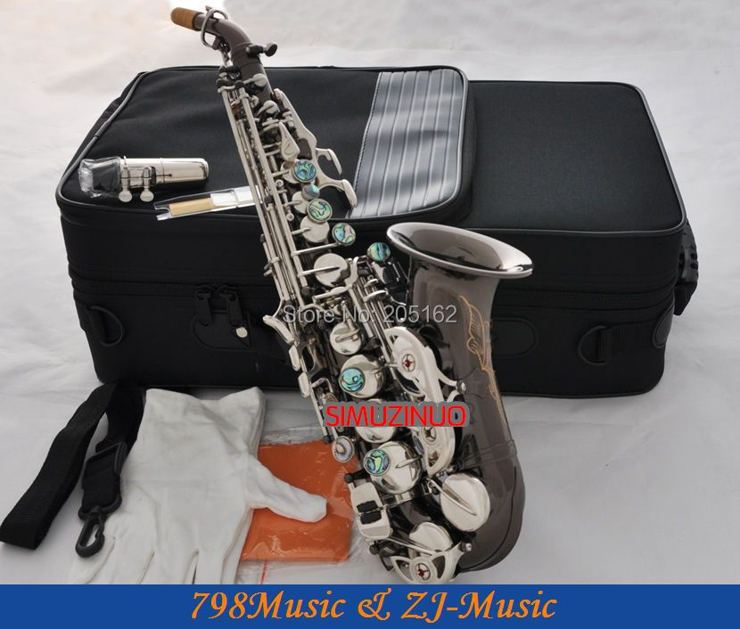 Black Nickel Curved Soprano Saxophone Bb sax Abalone Key High F# with case