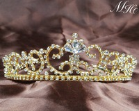 Luxury Clear Rhinestone Crystal Tiara Crown Bridal Party Wedding Prom Gold Plated Tone Hair Jewelry Accessories