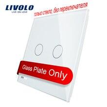 Livolo Роскошный белый жемчуг кристалл Стекло, 80 мм * 80 мм, стандарт ЕС, один Стекло Панель для 2 банды стены сенсорный выключатель, vl-c7-c2-11