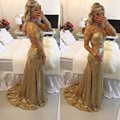 Sparkling Sequined Gold Prom Dress long sleeves mermaid evening dress sheer beads sweep train party dress vestido de festa