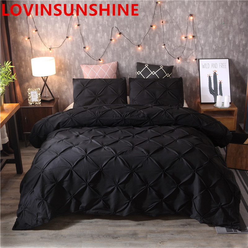 Luxury Black Duvet Cover Pinch Pleat Brief Bedding Set Queen King Size 3pcs Bed Linen Set Comforter Cover Set With Pillowcase(China)