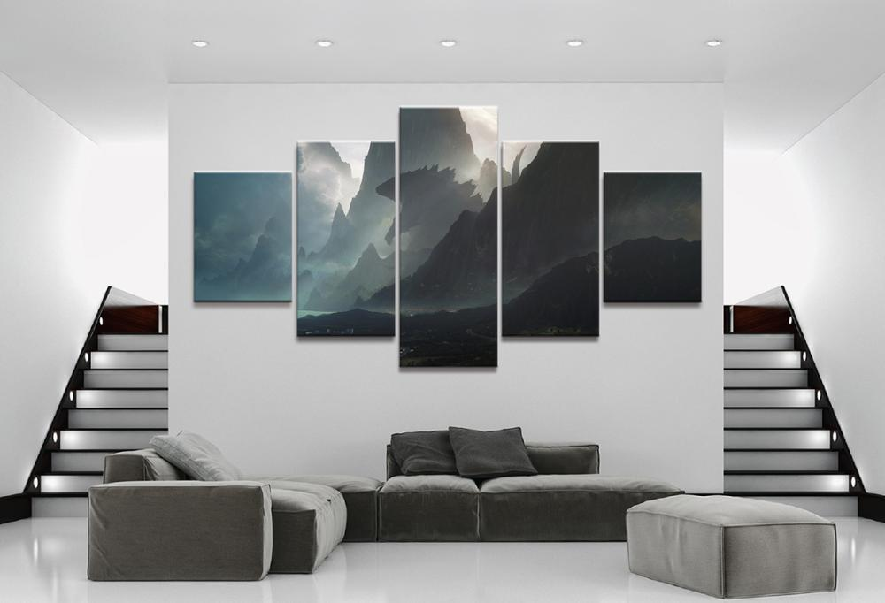 5 Piece HD Fantasy Art Monster Godzilla Pictures Godzilla King of The Monsters Movie Poster Canvas Paintings for Wall Decor(China)