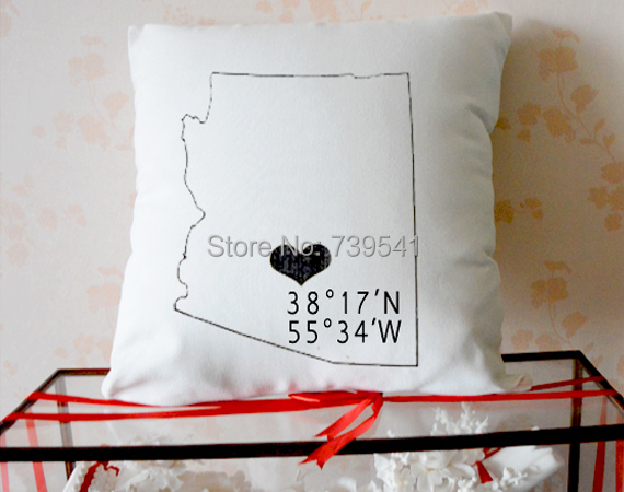 Custom state pillowcase Personalized Map pillow cover longitude and latitude cushion case Graduation gift