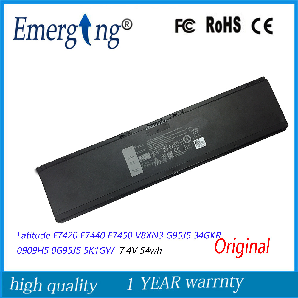 7.4V 54WH New  Original  Laptop Battery for Dell  Latitude E7420 E7440 E7450 V8XN3 G95J5 34GKR 0909H5 0G95J5 5K1GW 11 1v 97wh korea cell new m5y0x laptop battery for dell latitude e6420 e6520 e5420 e5520 e6430 71r31 nhxvw t54fj 9cell