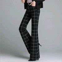 2017 en najaar vrouwelijke vrouwen meisjes Mode casual plus size hoge taille plaid flare broek broek kleding 79023