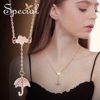 Moda especial paraguas Maxi collar Vintage oro rosa collar y colgantes Rhinestones joyería regalos para mujeres S2716N