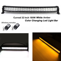 Honzdda Led Light Bar Curved 12V Offroad White Amber Light Bar Signal light 9 Flashing Modes Emergency Vehicle Strobe Lights