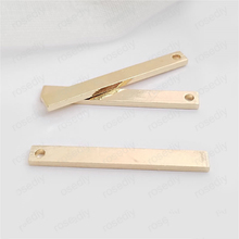 (30609)10PCS Lenth 32MM,width 3.8MM 24K Champagne Gold Color Plated Brass Rectangle Rod Charms Pendants Jewelry Accessories