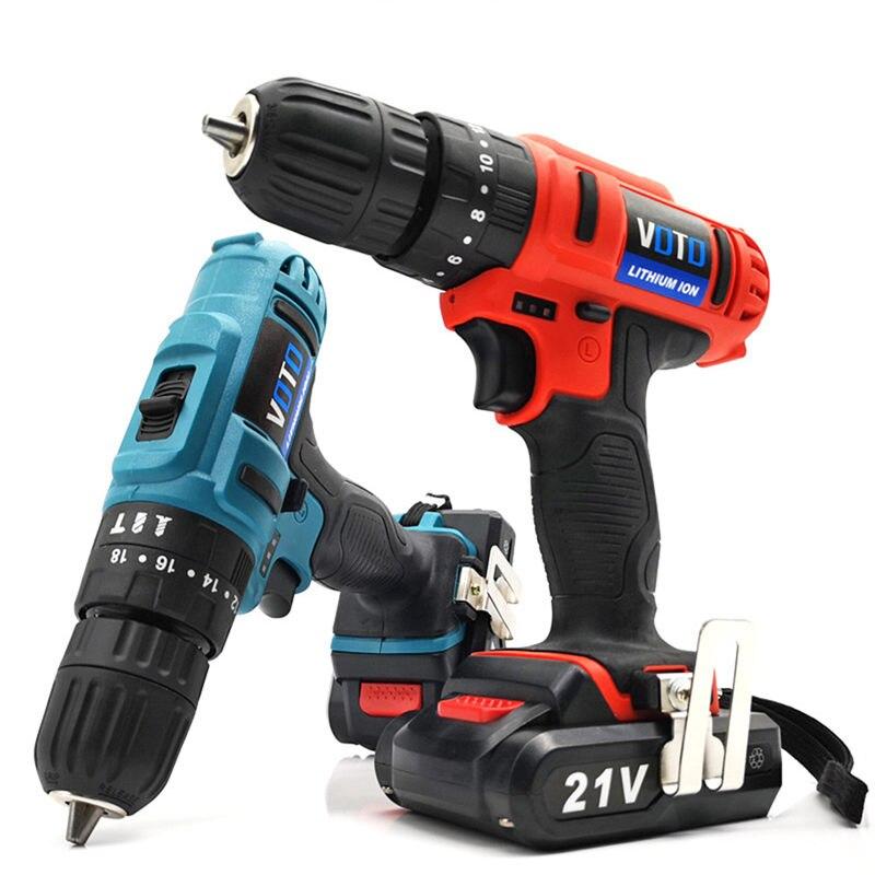 Tournevis électrique perceuse sans fil perceuse à percussion visseuse électrique pour outils de travail du bois 21V Max batterie Lithium-Ion cc 10mm 2 vitesses