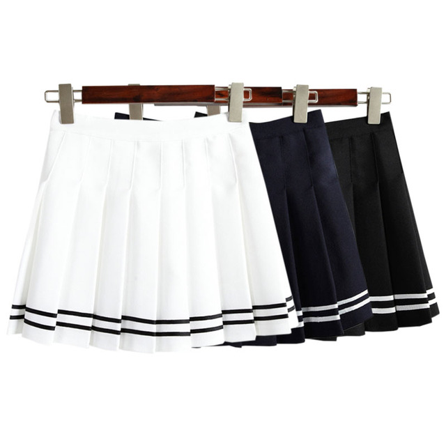 2017 New Summer Korean High Waist Mini Pleated Skirt British Style College Vintage A-line Skirt Short Skirts Womens Petticoat
