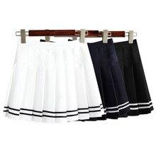 2017 nuevo verano coreano cintura alta mini falda plisada estilo británico colegio vintage una línea de faldas para mujer de falda corta enagua
