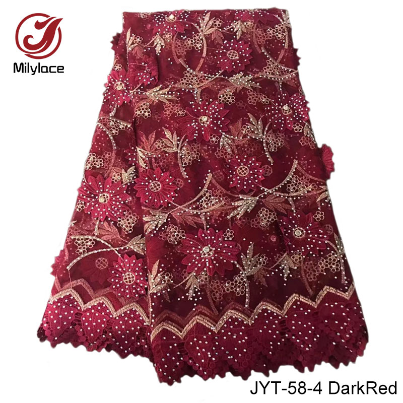 French lace fabric with stones 5 yards per lot wine tulle lace fabric party dress hot sale lace baby pink JYT-58