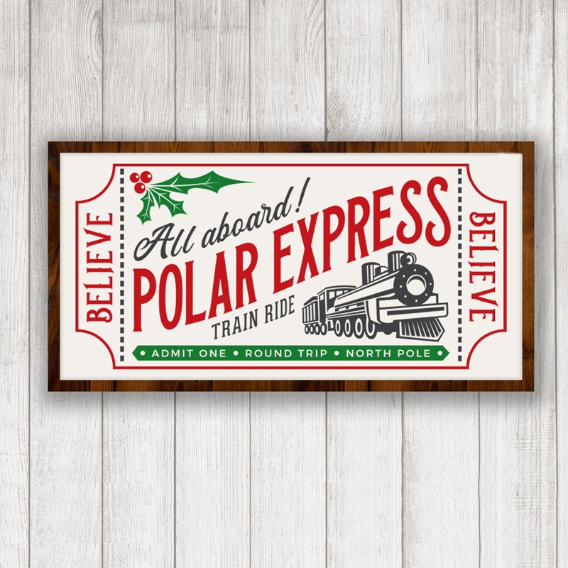 Polar Express Ticket Vintage Poster Painting For Your Christmas Home Decor Rustic Sign Canvas Prints Wall Art Picture Decoration