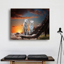 Laeacco Canvas Painting Calligraphy Two White Tiger Sitting on a Rock Watching the Sunset Poster Wall Picture for Living Room