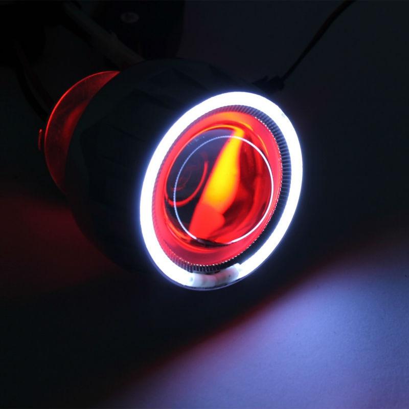 Бренд AngelEye супер Белый HID Би-Ксеноновые объектив проектора мотоцикл новый комплект с Красный Дьявол глаз