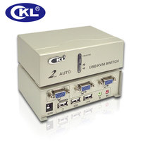 CKL 2 Port USB VGA KVM Switch Support Audio Auto Scan with Cables, PC Monitor Keyboard Mouse Hotkey Webcam Switcher CKL 82UA