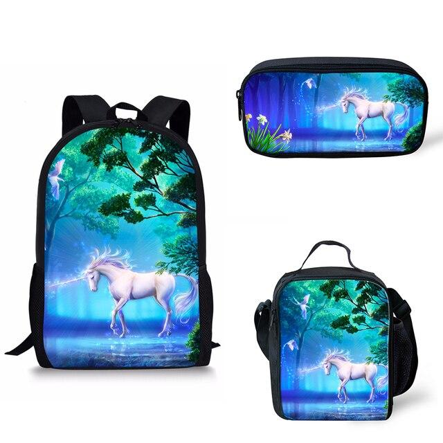 2019 Hot Sale 3 Pcs Set girl unicorn school bag Backpack Zipper Backpacks School Bag Teenager Girls Book pencil bags Unicorns 1