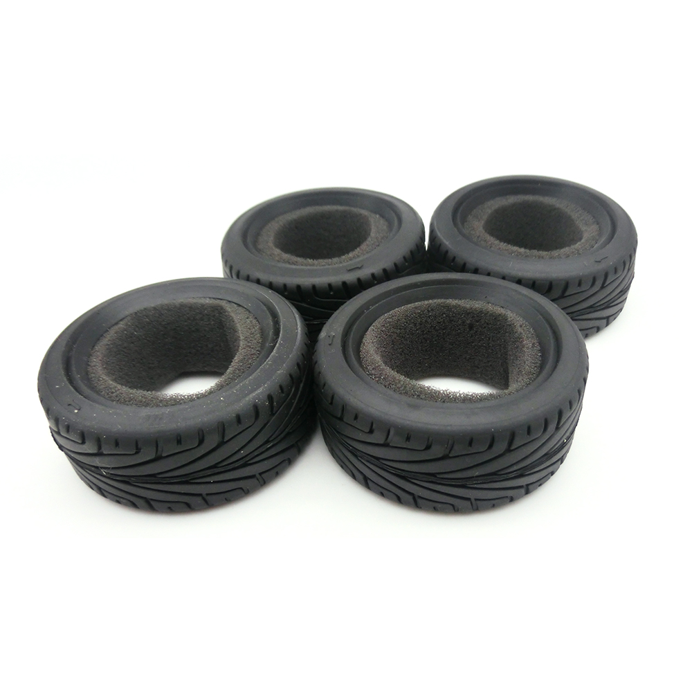 4Pcs/Set Run Flat RC Car Black Grain Rubber Tyre Wheel Tire for 1/10 RC On Road Car Traxxas HSP Tamiya HPI Kyosho 1/10 Parts 4pcs 1 10 on road rubber tyre for hsp tamiya losi rc car tyre