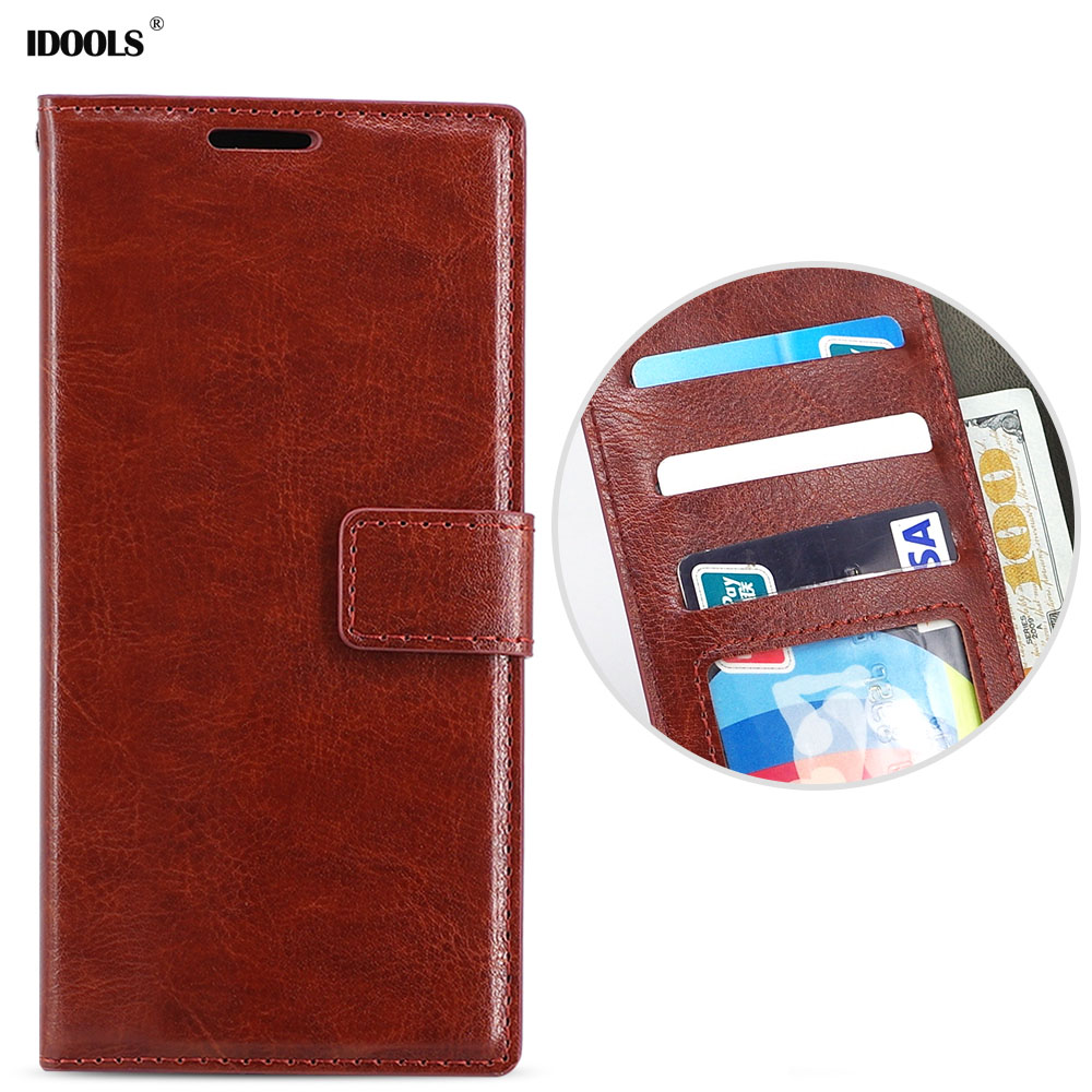 IDOOLS Case for Huawei Y7 Prime 2018 Luxury Wallet PU Leather Flip Cases Wallet Phone Stand Cover Bags for Huawei Y7 Prime 2018