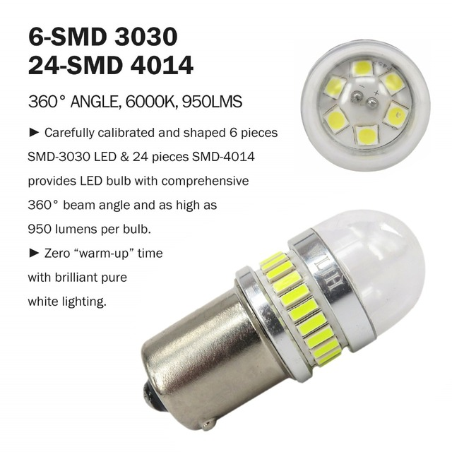 WLJH 2x High Power White Amber Red 1156 BA15S 7506 P21W LED 4014 3030 Chip Car Reverse Backup Light Parking Lamp DRL Bulb Lens