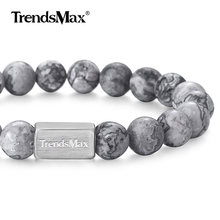 Natural Grey Jasper Stone Bracelet Mens Womens Semi precious Gem Chain Stainless Steel Stretch Beaded Bracelet Toggle TBB01106(China)