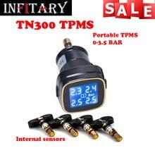 TN300 Inalámbrico monitor de 4 sensores internos tpms sistema de monitoreo de presión de neumáticos Para renault peugeot toyota y todos los coches envío gratis