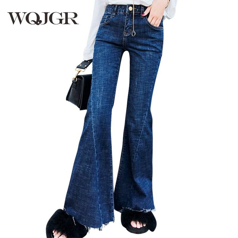 WQJGR taille haute Jeans femme 2018 automne et hiver augmenter cachemire jambe large femmes Jeans