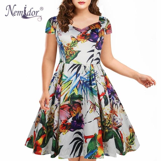 b6ac0d40f9e Nemidor Women Vintage Style Print Casual Short Sleeve Party A-line Dress  V-neck Patchwork Plus Size Knee Length Swing Dress