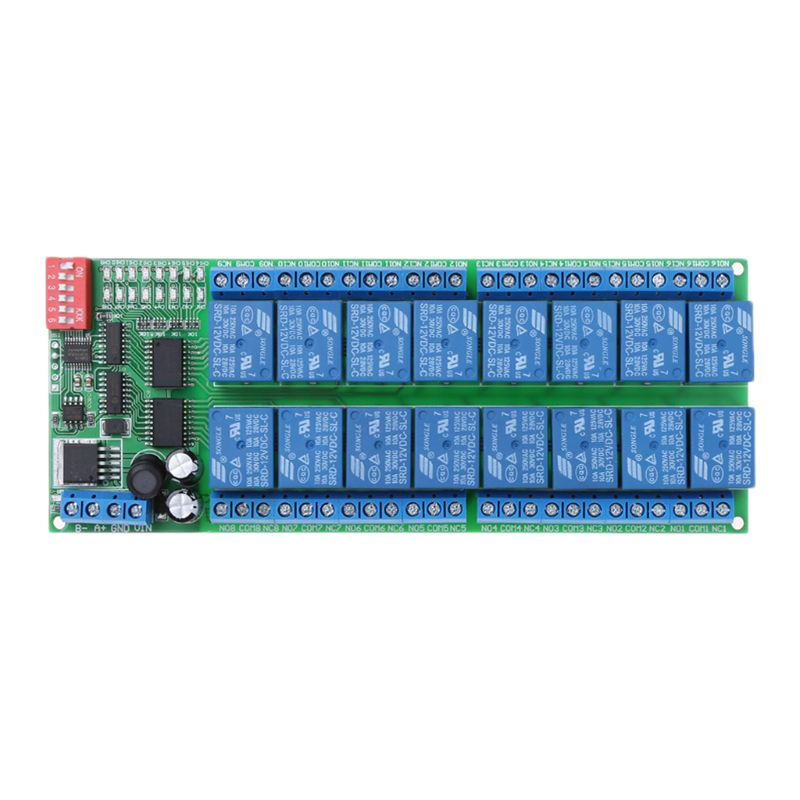 OOTDTY 16 Channel DC 12V RS485 Relay Module Remote Controller for PLC PTZ Camera Motors 5v 2 channel ir relay shield expansion board module for arduino with infrared remote controller