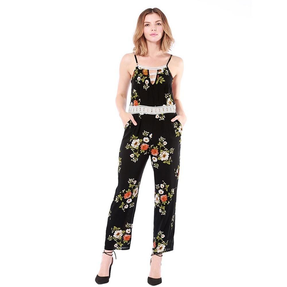 2018 floral printed women summer jumpsuits bohemian sling romper long playsuits female elegant lace patchwork loose bodysuits