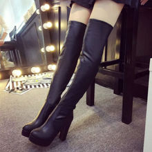 Womens Stretch Slim Super PU Over Knee Thigh High Boots Sexy Fashion High Heel Boot Black Chaussures Femmes 2016 Hiver