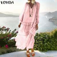 VONDA Bohemian Women's Maxi Dress 2019 Summer Sexy V Neck Beach Vestido Transparent Casual Loose Vintage Layered Dress Plus Size