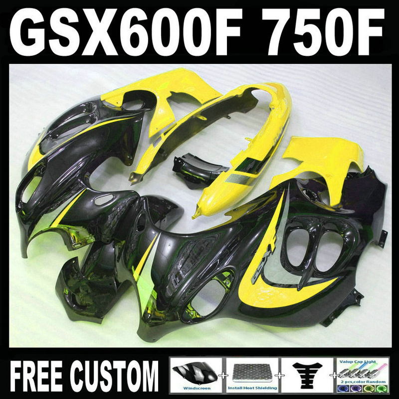Top selling molding fairing kit for Suzuki GSX 600F 750F 95 96 97-05 yellow black fairings set GSX600F 1995 1996-2005 LM25 4pcs 60w flightcase led spot moving head light usa luminums mini led beam moving head 60w rgbw 4in1 beam led dj spot light
