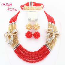 2017 newest Florid red and golden Nigerian Wedding Bride Jewelry Set Gift Costume Jewelry set african beads jewelry set N0057