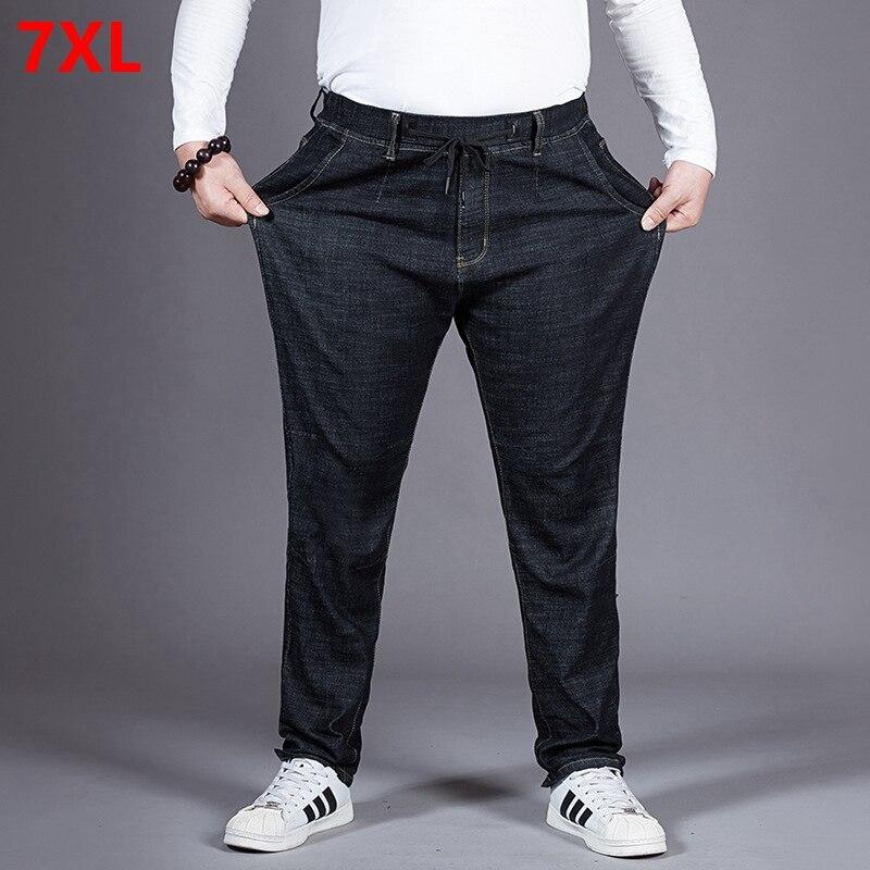 Automne élastique épais élastique taille jeans mâle lâche droit plus engrais XL grande taille élastique pantalon Jeans homme 7XL 6XL 5X-in Jeans from Vêtements homme on AliExpress - 11.11_Double 11_Singles' Day 1