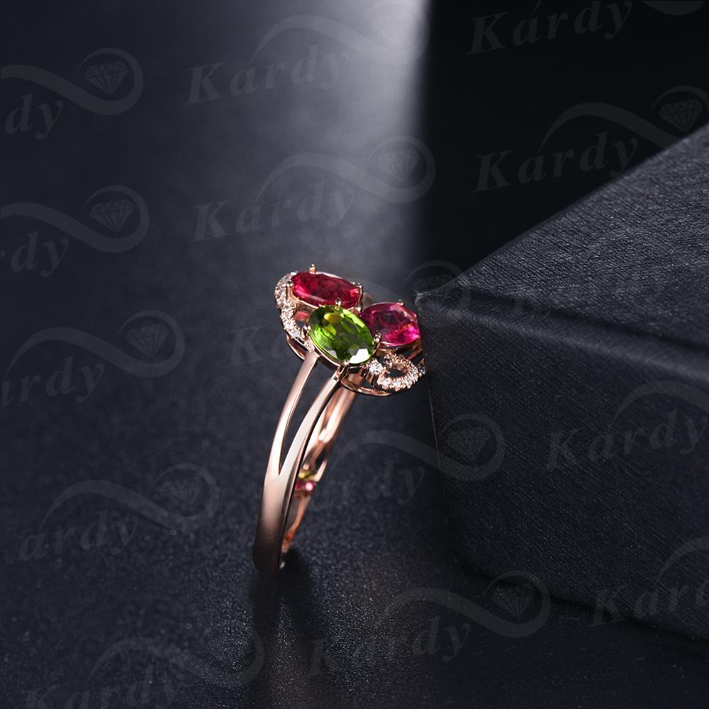 Incroyable Design pierre précieuse Tourmaline naturelle véritable diamant 14 K or Rose bague de fiançailles de mariage ensemble - 5