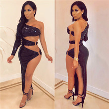 Sexy One Shoulder Slope Long Sleeve Dress Shiny Sequins Backless High Cut Bodycon Dresses