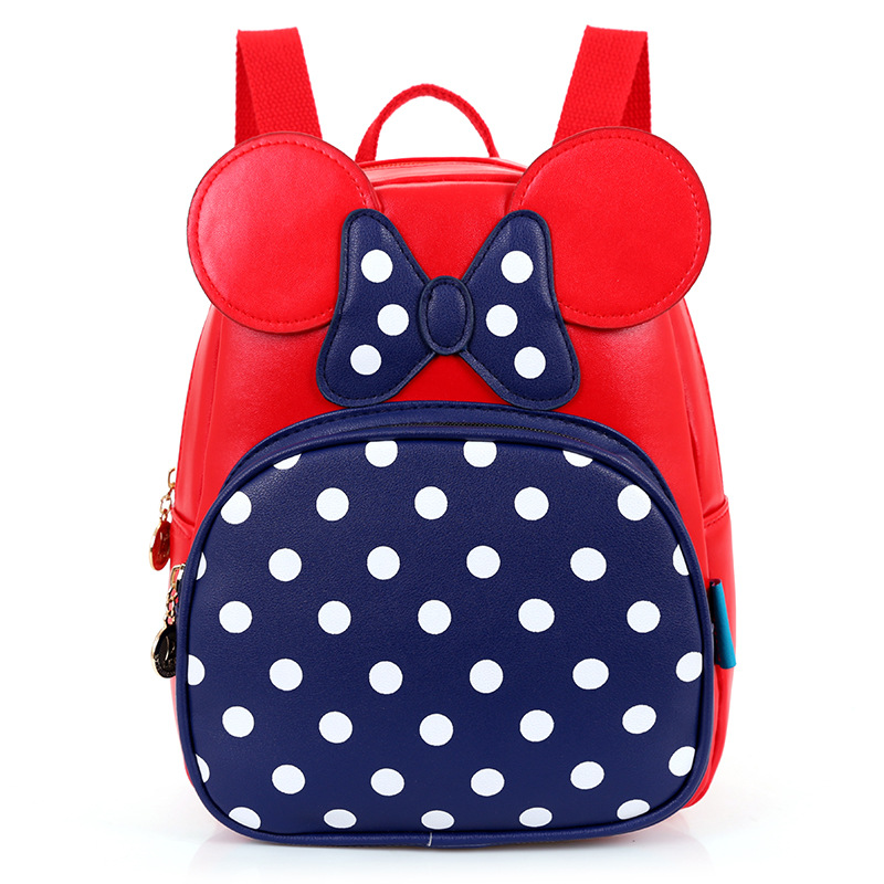 Baby Girls Backpacks with Dots and Bowtie Pink Minnie Back Bags Cartoon  Character School Bags Leather Waterproof Kids Backpack-in School Bags from  Luggage ... 4ccc923b5159e