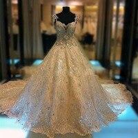 Luxury New Long Wedding Dresses 2018 Sweetheart Cap Sleeve Royal Train Beading Crystal Tulle Wedding Gowns Vestido de noiva