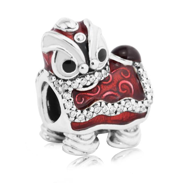 Danza del león chino silver charm con cz bead fit pandora pulsera y el collar original de plata 925 joyería que hace diy al por mayor