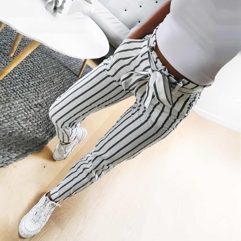 Spring 2019 Women Pants Autumn Bow Tie White Striped Leisure Pencil Pants Hot Fashion Sweet Striped Ankle Length Pants Belt