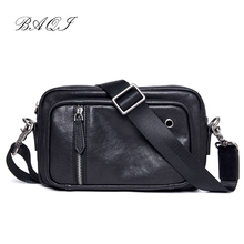 BAQI Brand Men Handbags Genuine Cow Leather Casual Business Mens Shoulder Messenger Bag 2019 Fashion Crossbody male