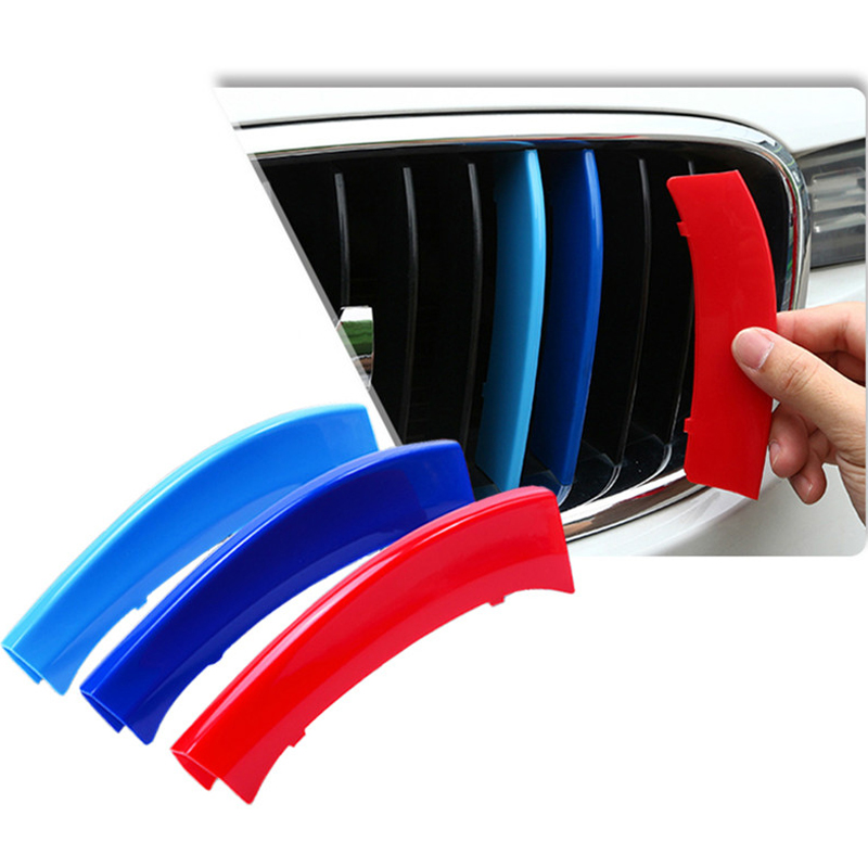 3pcs 3d For BMW X3 E83 Accessories 2007 2008 2009 2010  Motorsport Power M Performance Front Grille Trim Strips Cover Stickers