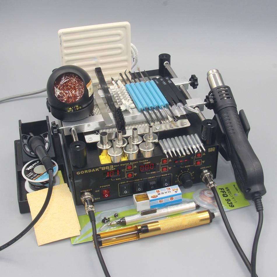 Gordak 863 3 em 1 Digita Pistola de Calor Ar Quente Retrabalho BGA Estação De Solda Elétrica ferro De Solda IR Infrared Pré estação