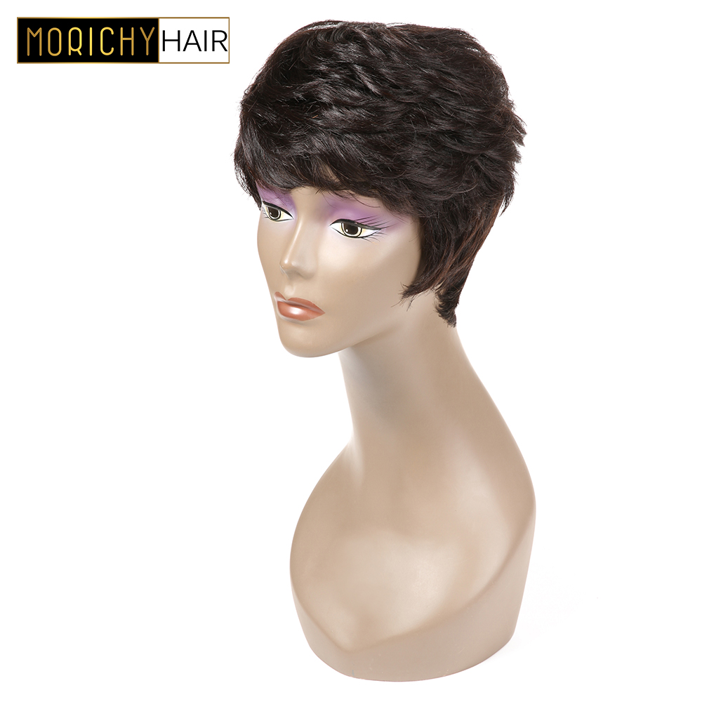 MORICHY Short Human Hair Wigs For Women Brazilian Pixie Wig Human Hair Natural Color Non Remy Hair 130% Density