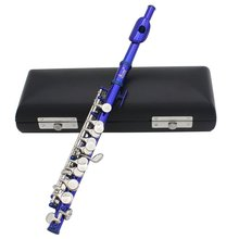 LADE Piccolo Half-size Flute Plated C Key Cupronickel with Cork Grease Cleaning Cloth Screwdriver Padded Box blue