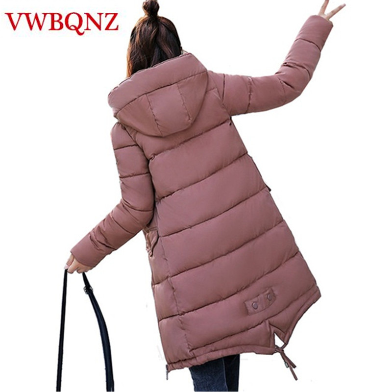 2019 Winter Hooded Jacket   Parkas   Warm Thicken Medium Long Outerwear Slim Cotton padded Female Jacket Casual Student Basic Tops