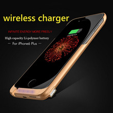 New LED Power Case For iPhone 6 Plus Wireless Charge Case 8000mAh External Backup Battery Charger Cases with USB stand holder