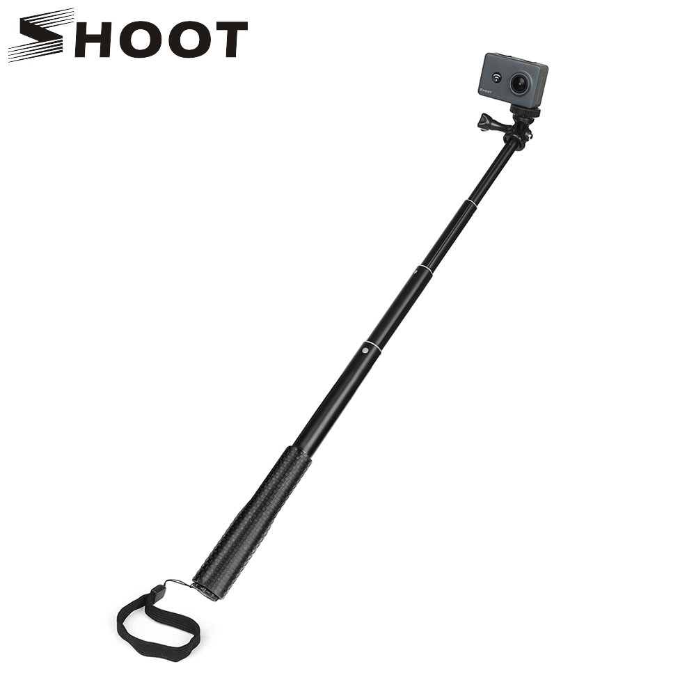 SHOOT 36 inch Adjustable Aluminum Selfie Stick Monopod for GoPro Hero 6 5 4 Black Silver Session SJCAM Yi 4K 4K+ Action Camera f88 action camera black