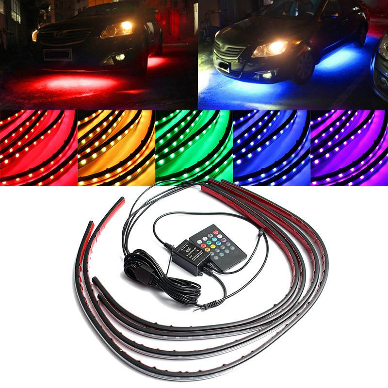 цена на 4x Waterproof RGB 5050 SMD Flexible LED Strip Under Car Tube Underglow Underbody System Neon Light Kit With Remote Control DC12V